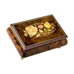 Italian Hand Crafted Inlaid Light Burl Wood Musical Jewelry Box Plays Let Me