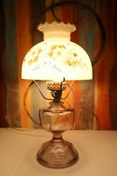 Antique Oil Lamp Conversion With Hand Painted Glass Shade Pressed Glass Stand