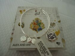 Alex And Ani Harry Potter Wizards Welcome Shiny Silver Bangle New W/tag Card Box