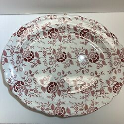 Royal Staffordshire Heirloom J And G Meakin Victoria Red Oval Platter Ironstone