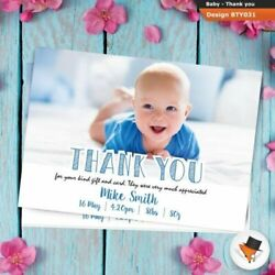 Personalised Polka Dot Photo New Baby Boy Birth Announcement Thank You Cards
