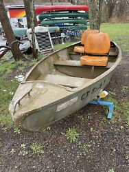 C 1957 Feather Craft Cartopper Sq. End Pulling Fishing Out Board Boat Rowing