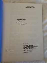 A Separate Peace Original Screenplay 1971 By Fred Segal Novel By John Knowles