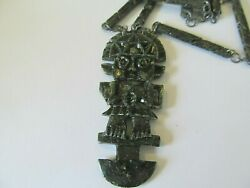 Vintage Tribal Ethnic Tumi Onyx Mayan Azted Man-lone Carved Onyx Stems Necklace