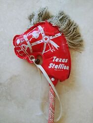 Red Vintage Texas Stallion Hobby Stick Horse Child's Riding Toy Made Usa.