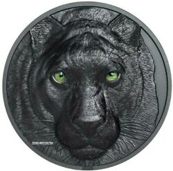 2020 2 Oz Black Proof Silver 10 Palau Black Panther Hunters By Night Coin.