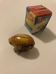 Vintage Pecking Chicken Tin Wind Up Toy China Collectable Retro Toy Chicken BD