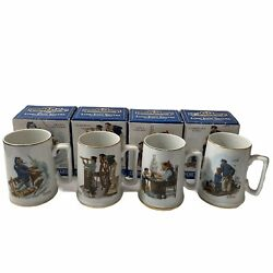 Vintage Norman Rockwell Seafarers Tankard Collection Long John Silvers Set Of 4