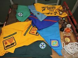 Bulk Lot Vintage Scout Guide And Cub Neckerchief Ties Toggle Pins Etc