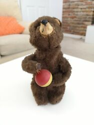 Amazing Speaking Vintage Wind Up Mechanical Bear - Says And039bearand039 - Working