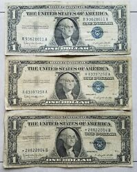 1957 Blue Seal 1 One Dollar Silver Certificate Bill-old Paper Money-lot Of 3