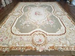 9and039 X 12and039 Hand Made Aubusson Weave Needllepoint Flat Pile Wool Rug Beige Olive