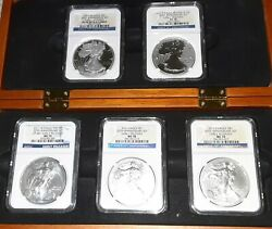 2011 W Silver Eagle 25th Anniversary Ngc Ms/pf70 5-coin Set Early Releases Andcase