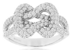 Estate Large 1.0ct Diamond 14kt White Gold 3d Double Love Knot Fun Ring