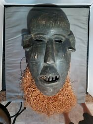 Primitive Tribal West African Mask Grass Raffia - Museum Exhibited Collection