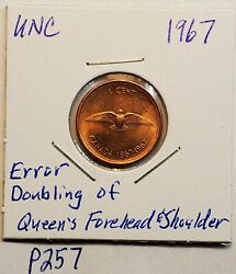 Error Coin 1967 Double Forehead And Shoulder Canada 1 Cent Penny Unc P257c