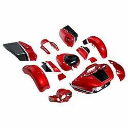 Fender Fairing Gas Tank Fit For Cvo Road Glide 15-21 Wicked Red And Black Tempest