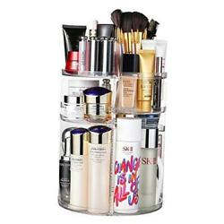 360 Degree Rotation Makeup Organizer Adjustable Multi Function Cosmetic Clear $34.05
