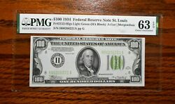 1934 100 Federal Reserve Note Light Green 💲 Pmg 63 Epq St Louis