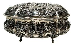 German Sterling Silver Gilt Interior Repousse Footed Table Box C1900