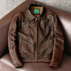 Mens Antique Brown Distressed Leather Jacket Biker Style Real Leather Jacket