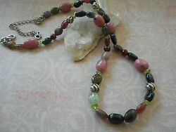 Sterling Carolyn Pollack Multi Stone Rhodonite Bead 17 + 4 Ext Necklace Reb23