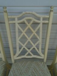 Set 4 Fretwork Dining Chairs Faux Bamboo Hollywood Regency Chinese Chippendale