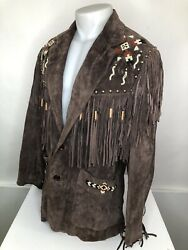 Unreal Scully - Vintage Suede Leather Native American Indian Beaded Sz.38 Jacket