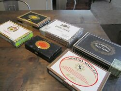 Lot Vintage Wooden Cigar Boxes Box Collection Stamps Dominican Republic Honduras