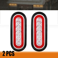 Pair 6 Inch Oval Tail Lights Stop Turn Tail Brake Lamps For Rv Trailer Truck