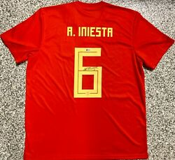 Spain Andres Iniesta Signed Jersey Soccer Autographed Beckett Bas Coa