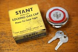 Vintage Stant Locking Gas Cap With Keys 1958 Gm Buick Cadillac Oldsmobile Nos