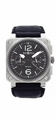 Bell And Ross Phantom Chronograph Steel Black Dial Automatic Mens Watch Br03-94-s