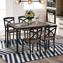 5 Piece Industrial Wooden Dining Table Set 4 Chairs Kitchen Breakfast Furniture