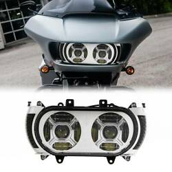 Front Led Dual Headlight Turn Signal Light Fit For Harley Road Glide 15-19 18