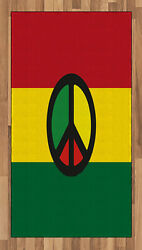 Jamaican Area Rug Decorative Flat Woven Accent Rug Home Decor In 2 Sizes