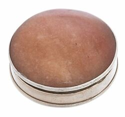 Antique Imperial Russian Silver 84 Musk Holder Pill Box Agate Insert 1908-1917