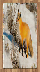 Woodland Fox Area Rug Decorative Flat Woven Accent Rug Home Decor 2 Sizes