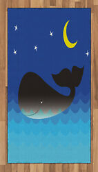 Marine Whale Area Rug Decorative Flat Woven Accent Rug Home Decor 2 Sizes