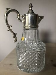 Leonard Italy 10 Crystal And Silver-plated Lidded 1.5 Quart Water Pitcher/carafe