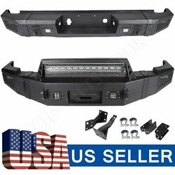 Textured Heavy Full Width Front And Rear Bumper W/ Leds For 07-13 Chevy Silverado