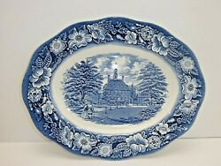 Staffordshire Liberty Blue Governor's House Williamsburg Oval Platter 12