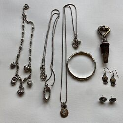 7 Piece Brighton Lot 3 Necklaces, 2 Pairs Earrings, 1 Bangle, 1 Bottle Stopper