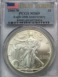 2006 W Silver Eagle Pcgs Ms69 20th Anniversary First Strike