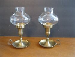 Partylite Finger Hole Saucer Candle Holders With Globe - Discontinued Htf