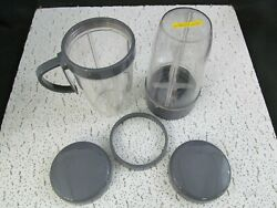 Nutribullet Nb-201 Parts Extractor Blade 2 Cups W/ 1 Handle And Lip Ring And Lids