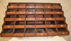 Antique General Store Hardware Wood Display Case Waterfall Drawers Brass Pulls