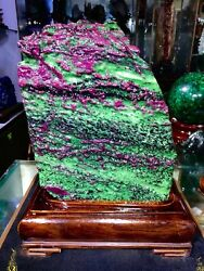 61.5lb Large/heavy Extremely Rare Natural Ruby Zoisite Quartz Crystal W/st M1178