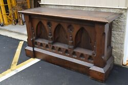 + Nice 120 Year Old Antique Ornate Gothic Wood Altar + 6' Wide + Chalice Co.