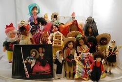 Lot - 25 Vintage Dolls From Around The World Styles Cultures International Dolls